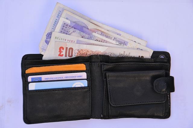 peněženka, ze které koukají bankovky